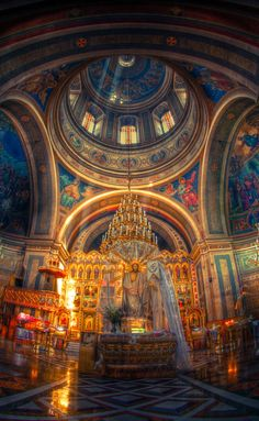 Orthodox cathedral interior in Chernivtsi. Love the frescoes!