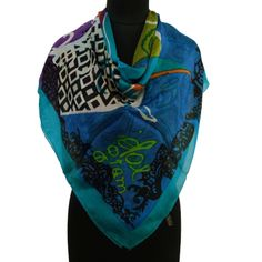 Multicolor Pure Silk Scarf Abstract Print Women Summer Shoulder Wrap X .this is img Abstract Print, Abstract Pattern, Pure Silk, Looks Great, Shawls, Tees, Stuff To Buy, Color, Shoulder