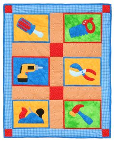 """Playtime Tools quilt pattern measures 39"""" x 49"""". Can be expanded to 63"""" x 77"""" by adding additional borders. Instructions for both sizes are included. Perfect for your littlest handyman!"""