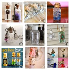 DIY Roundup 9 Mini Bottle Tutorials. Part 2. Part 1 is here.      Mini Bottle Necklace from Lana Red.    Treasure Vial Necklace from Crafting a Green World.    Mini Meditation Glitter Bottle or Keep Calm Bottle from Mily's Photography.    Mini Glass Bottle Wish Necklacefrom Embracing Messy.    Ghost Tears, Formula for Success and Nagging Doubt Potion Bottles from The Happy Heathen.    Wire Wrapped Perfume Bottle Necklace from My Salvaged Treasures.    Harry Potter Potion Necklace Tutorials…