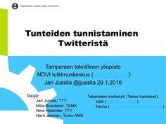 Esitys Suomen ensimmäiseen Twitter seminaariin Tampereen yliopistolla 29.1.2016