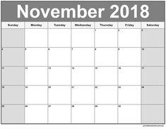November 2018 Printable Calendar November Printable Calendar, Blank Monthly Calendar Template, Free Printable Calendar Templates, Online Calendar, Holiday Calendar, Free Printables, Calendar 2018, Blank Calendar, Print Calendar