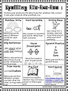 Spelling / Word Work Tic-Tac-Toe