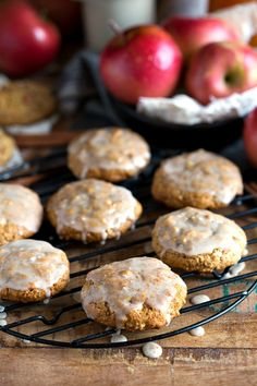 """No white flour, no butter, and no oil in these glazed """"apple pie"""" cookies. #healthy #cleaneating #cookies #apple #pie"""