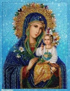 What great love the artist must have had for our dear Mother Mary. Jesus Mother, Blessed Mother Mary, Blessed Virgin Mary, Religious Pictures, Religious Icons, Religious Art, Lady Madonna, Madonna And Child, Catholic Saints