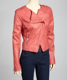 Super reasonable Coral Asymmetrical Moto Jacket by Therapy! Perfect for Fall