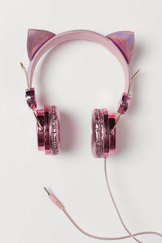 On-ear headphones - Metallic pink/Cat - Kids Cat Headphones, Crown Headphones, Wireless Headphones, Chat Rose, Mode Kawaii, Unicorn Fashion, Accesorios Casual, Elf Ears, Metallic Pink