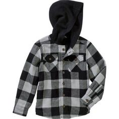 Faded Glory Boys' Lined Flannel Shirt Jacket, Size: 14/16, Silver
