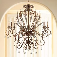 "Acanthus and Crystal 68"" Wide Bronze Chandelier - #V5107 