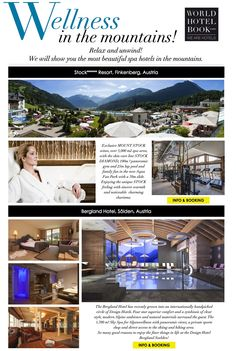 Wellness in the mountains! Hotel Spa, Most Beautiful, Aqua, Wellness, Mountains, World, Books, Water, Libros