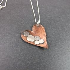 Heart Pendant Necklace, Bubble Collection, Copper and Sterling Silver  £28.00
