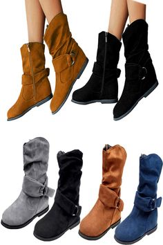 0e8b3acda US Women Extra Wide Ankle Retro Boots Casual Slouch Flat Heel Booties Shoes  Size
