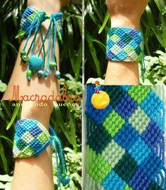 Brazalete de Cuadritos Azules y Verdes #Macrame