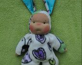 "Waldorf style floppy Bunny Baby, 11"" / 28 cm tall. Soft child friendly baby doll."