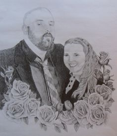 Graphite drawing of a lovely young couple who just got engaged, created for one of my wonderful customers.