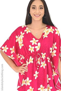 Sweet Floral Plumeria Kaftan in Pink Plumeria - soft beach cover up. Throw this delightful caftan over your bikinis or jeans for a day at the beach, cruising or casual wear. Lots of colours and patterns to choose from. #poncho #kaftan #bikini #beachcoverup #caftan #plumeriaparty #luau #luauparty #coverup #beachwear #cruise #cruisewear #frangipani