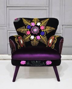 Patchwork armchair with Suzani and Purple velvet. Loveeeee this chair Funky Furniture, Unique Furniture, Painted Furniture, Furniture Design, Upholstered Furniture, Furniture Ideas, Floral Furniture, Luxury Furniture, Take A Seat