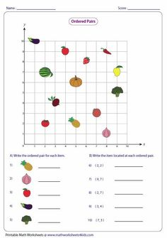 Ordered Pairs and Coordinate Plane Worksheets. The worksheets contain ordered pairs, plotting points on coordinate plane, identifying quadrants and axes, Graphing Worksheets, Printable Math Worksheets, Worksheets For Kids, Kindergarten Worksheets, Math Resources, Math Activities, 5th Grade Math, Teaching Math, Ideas