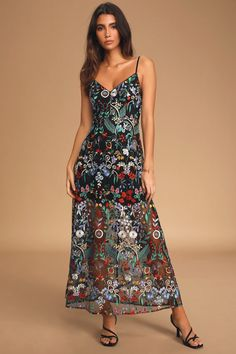 Don't be afraid to blossom in the Lulus Avant Garden Black Floral Embroidered Maxi Dress! Floral embroidered mesh dress with a sheer tea-length hemline. Tea Length Dresses, Formal Dresses, Formal Wear, Wedding Dresses, Women's Dresses, Dresses For Sale, Dresses Online, Floral Print Pants, Business Casual Outfits