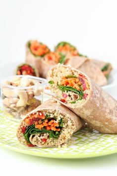 Quinoa Veggie Wraps Vegan - We love how colorful these easy-to-make veggie wraps are! Healthy and delicious, these quinoa & hummus wraps are perfect for lunch or dinner. Veggie Wraps, Vegetarian Recipes, Cooking Recipes, Healthy Recipes, Vegetarian Sandwiches, Going Vegetarian, Vegetarian Breakfast, Vegetarian Dinners, Vegetarian Cooking
