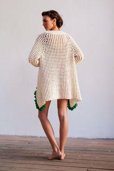 crochet long jacket by Helen Rödel. Shoots by Eduardo Carneiro