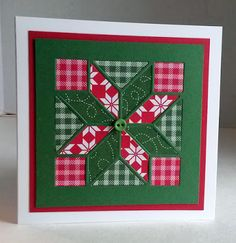 handmade Christmas card from Paper Seedlings ... patchwork quilt block ... die cut panel ... printed papers in red and green ... luv the gingham look ... Stampin' Up!