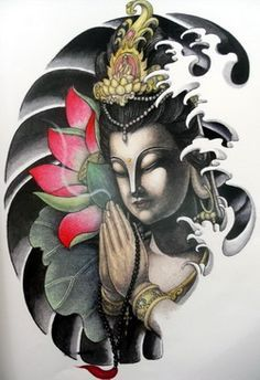 Colorful Buddha with praying hands tattoo design