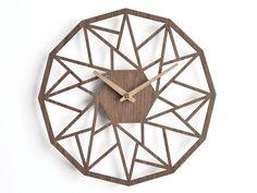 horloge murale en bois 30cm - 12   horloge géométrique   horloge murale de découpe au laser   horloge murale placage   horloge murale noyer   horloge décorative