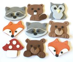 9 x edible icing Woodland Animal themed cupcake toppers cake decorations, kids birthday cakes