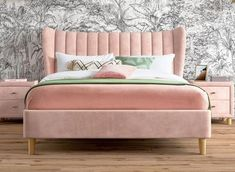 Comfy Messy Bedding - - Platform Bedding - How To Make A Beautiful Bedding Bed Headboard Design, Bedroom Bed Design, Bedroom Furniture Design, Headboards For Beds, Bed Furniture, Pink Headboard, Upholstered Furniture, Bedroom Ideas, Velvet Upholstered Bed
