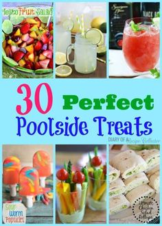 When you're planning a pool party, you want to serve food that's light and refreshing. For your convenience, Diary of a Recipe Collector has prepared a roundup of 30 yummy treats that are perfect for any pool party. Pool Snacks, Snacks Für Party, Luau Party, Appetizers For Party, Pool Party Foods, Pool Party Recipes, Pool Party Treats, Beach Snacks, Beach Party