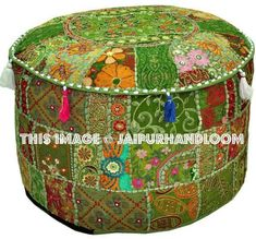 From Bohemian Vintage Embroidered Pouf Ottoman Footstool Cover Indian Round Ottoman Stool Pouf Pillow Ethnic Embroidered Pouf Cover Indian Cotton Round Pouffe Ottoman Pouf Cover Pillow Ethnic Decor Art Inch. By Bhagyoday Pouf Ottoman, Pouf Chair, Ottoman Cover, Large Ottoman, Chair Pads, Ikea Pouf, Handmade Ottomans, Stool Covers, Ethnic Decor