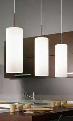 Eglo (93195) Troy 4 Triple Drop LED Glass Pendant Light - Kitchen Pendulum Fittings - Kitchen Lighting | Dusk Lights - Modern Home Lighting