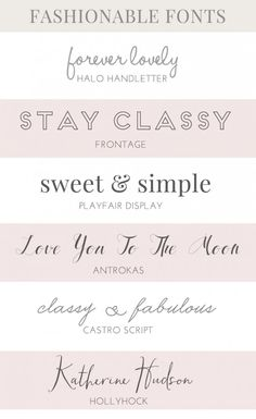 I like the bottom 2 fonts. These Lovely Fashion Fonts Would be Perfect for Use in Your Projects. Fashion Friendly, Modern, and Fashionable. Which Is Your Fave? Web Design, Blog Design, Vector Design, Pretty Fonts, Beautiful Fonts, Fancy Fonts, Cool Fonts, Classy Fonts, Typography Fonts