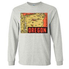 Vintage State Sticker oregon Long Sleeve Shirt - California Republic Clothes