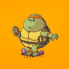 Teenage Mutant Ninja Turtles — All Pizza Diet Art Apple Watch Wallpaper, Wallpaper Iphone Cute, Geek Art, Nerd Geek, Teenage Mutant Ninja Turtles, Fat Cartoon Characters, Alex Solis, Funny Toons, T Art