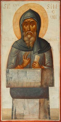 St Simeon the Stylite / Icoane Toma Chituc Byzantine Icons, Byzantine Art, Religious Images, Religious Art, St Pio Of Pietrelcina, Best Icons, Catholic Saints, Art Icon, High Art