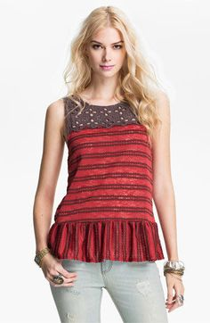 Free People Mollys Retro Peplum Top Eyelet Sleeveless Size XS Red Brown  #FreePeople #Peplum #Casual