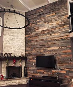 Gorgeous Stikwood feature wall! Can you believe that it's peel and stick?!