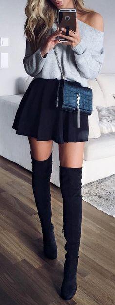 Grey Sweater // Black Skirt // Knee Length Boots Más