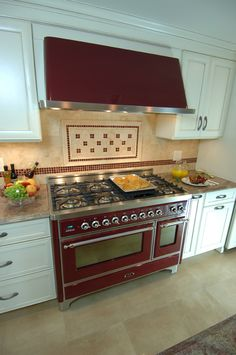 "ILVE 48"" Majestic Dual Fuel Range in Burgundy with Chrome Trim and matching hood"
