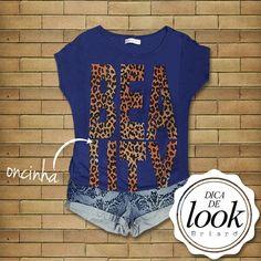 Cobalto + oncinha: combinação estilosa para um look descontraído. A blusa 'Beauty' e o short jeans criaram um visual ótimo para um dia ensolarado!  As duas peças já estão disponíveis nas lojas!   http://facebook.com/VistaBriard  #Moda #Fashion #Outfit #Ootd #Tip #Briard