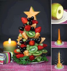 Holiday Fruit Tree ❥➥❥ Beautiful, nutritious and tastes great    Do YOU like Food Art? Do YOU create... pinned with Pinvolve
