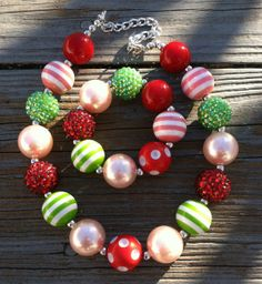 Strawberry Shortcake/Watermelon Chunky Bubblegum Bead Necklace Set Children's Babies-Girls Chunky Necklace