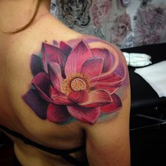 Colorful Lotus Flower Tattoo by Shio Zaragoza