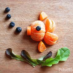 Fruit & Veg Fish Food for kids comida para niños saludable Vegetarian low-in-calories recipe diet Mandarina zanahoria carrots tangerine