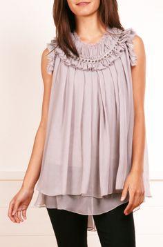 Thomas Wylde Light Grey Chiffon Sleeveless Blouse find more women fashion on www.misspool.com