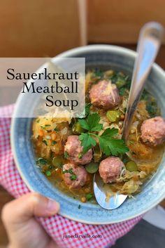 Sauerkraut Soup Recipe with Meatballs