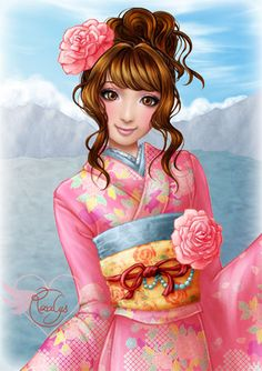 """Closeup of the illustration """"Japanese pink kimono"""" - Illustration from #rosalys at www.rosalys.net - work licensed under Creative Commons Attribution-Noncommercial"""