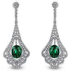 THE CLASSICS COLLECTION ~ Emerald Drop Earrings in platinum, set with 18.32ct emeralds and 6.95ct white diamonds by JACOB & CO.